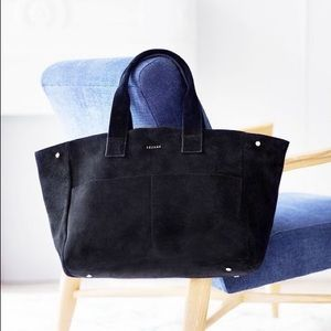 Sezane Vadim Tote Bag in Black Suede Leather
